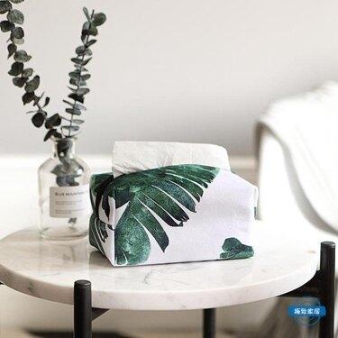 領券下定更優惠 北歐綠色植物布藝紙巾套 芭蕉葉小號抽紙巾套 車用紙巾盒