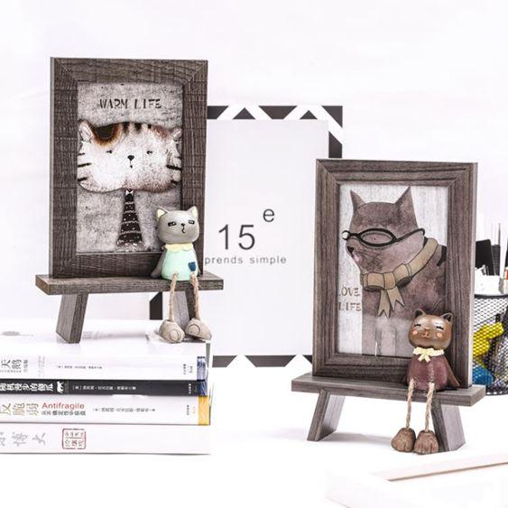 可愛貓咪相框擺臺帶打印照片六寸兒童創意卡通裝飾辦公室桌面擺件
