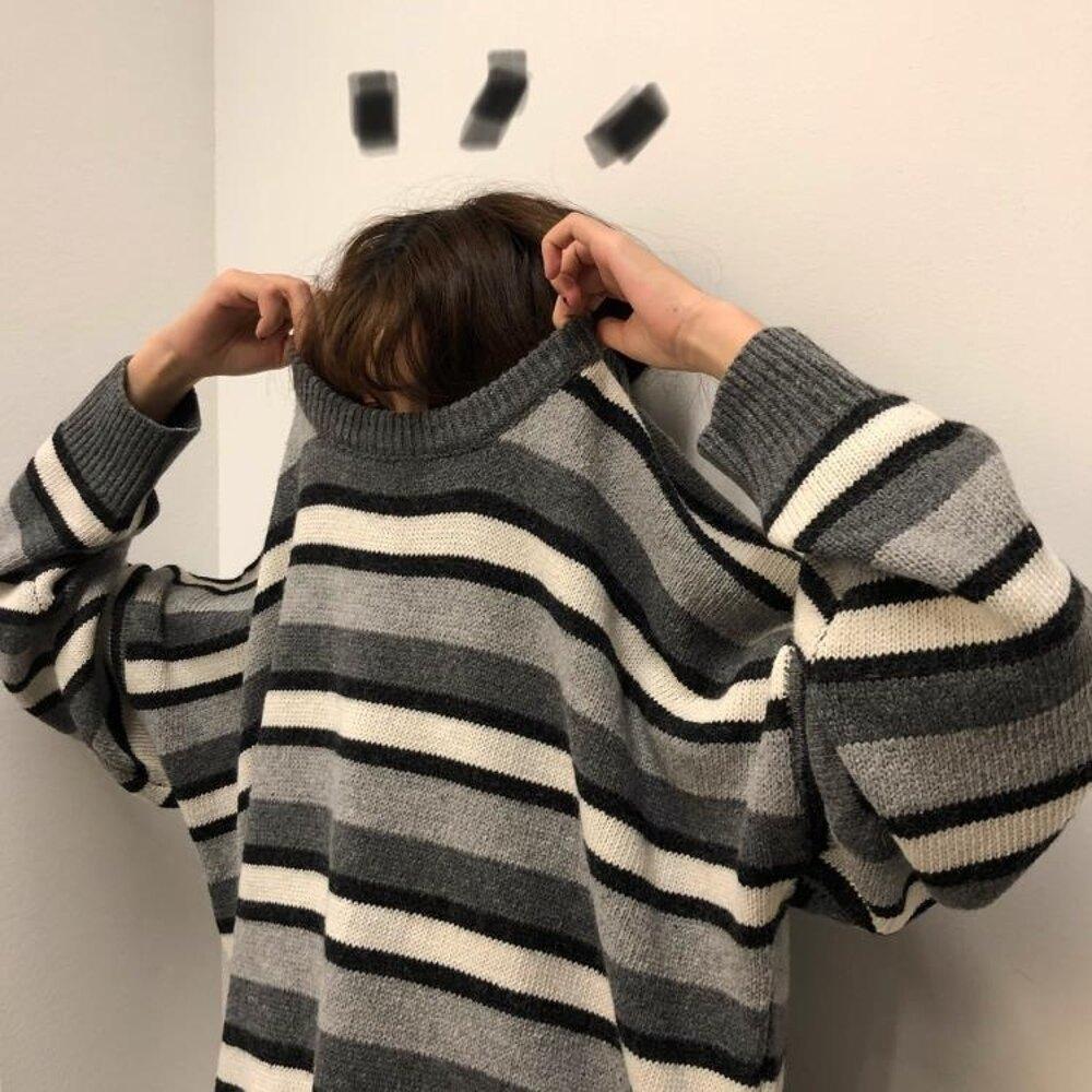 圓領毛衣 秋冬韓版中長款慵懶風寬鬆撞色條紋網紅甜美套頭針織衫毛衣外套女 曼慕衣櫃