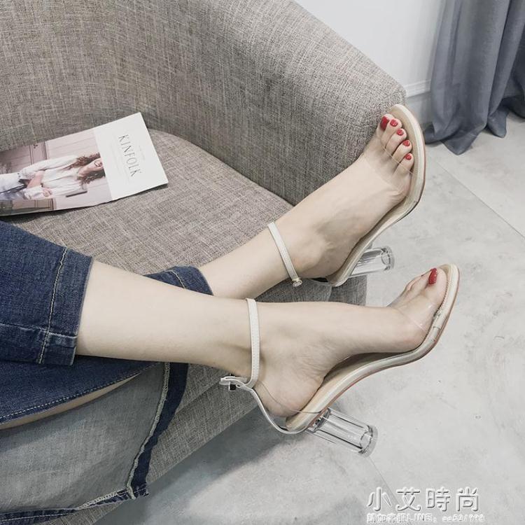 涼鞋新款女夏季韓版百搭透明高跟鞋一字扣中空學生露趾羅馬鞋