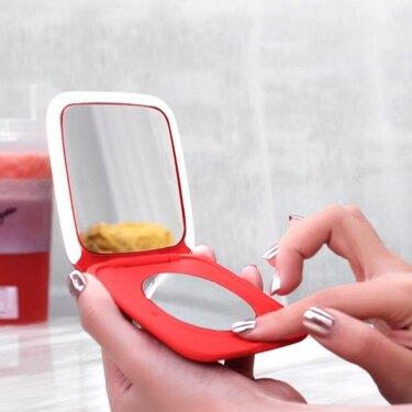 在水一方觸摸調光led帶燈化妝鏡補光鏡折疊便攜隨身女小梳妝鏡  聖誕節禮物