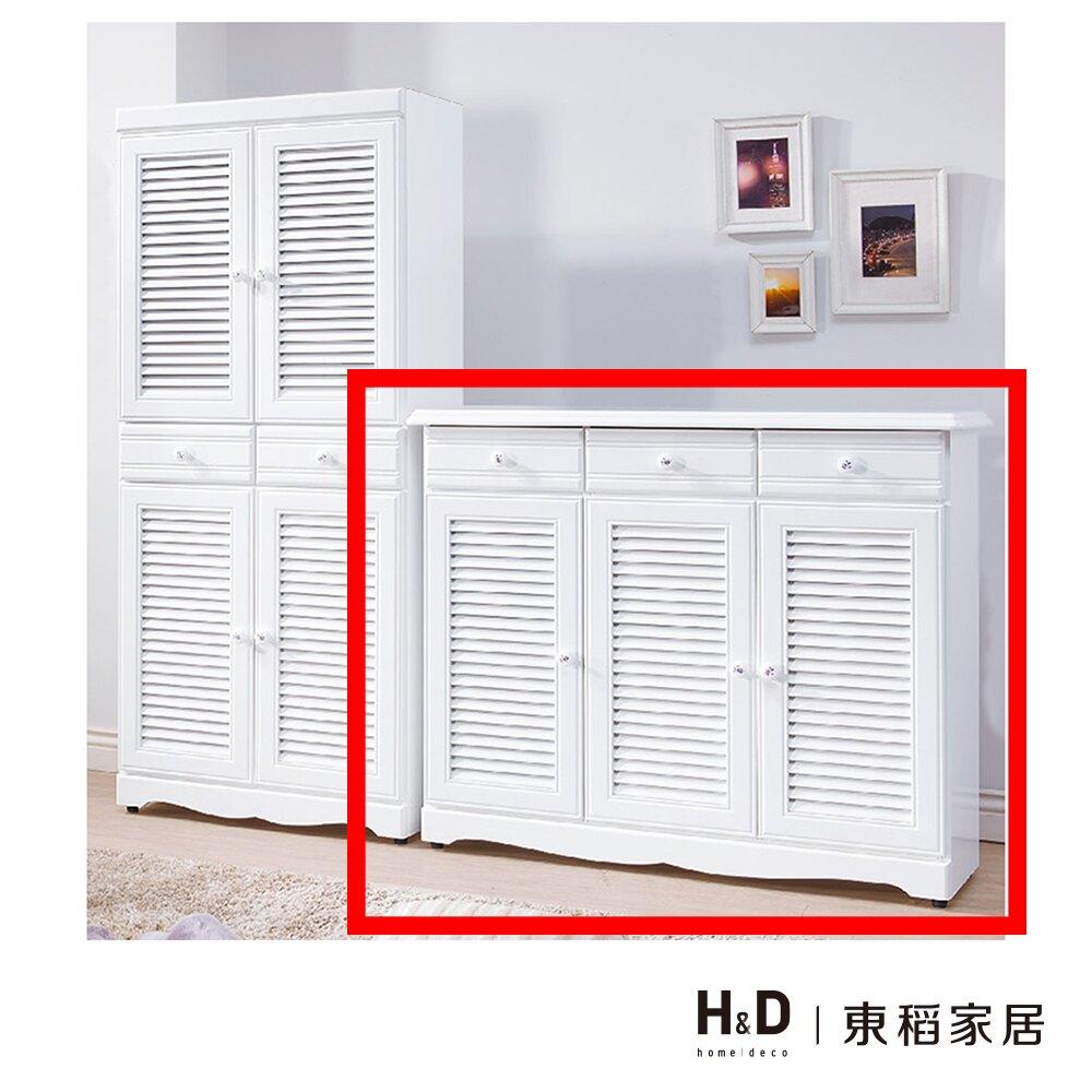愛莉森鄉村白色4尺真百葉鞋櫃/H&D東稻家居-消費滿3千送點數10%