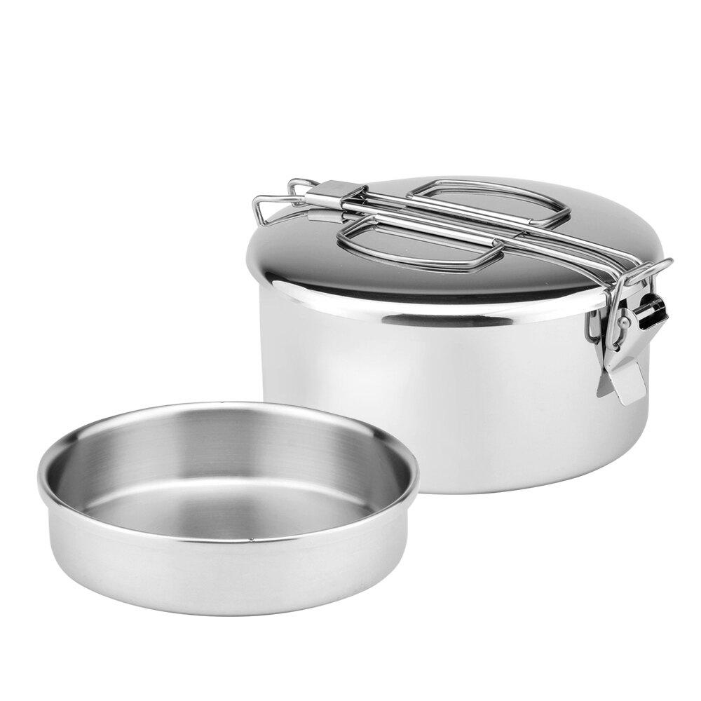 ZEBRA 斑馬牌 兩用圓型便當盒 8A12 / 0.6L / 304不銹鋼 / 餐盒 / 野炊鍋