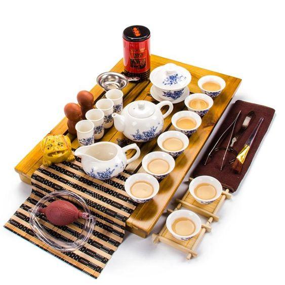 功夫茶具套裝家用簡約整套實木茶盤陶瓷紫砂冰裂茶壺茶杯茶臺茶道