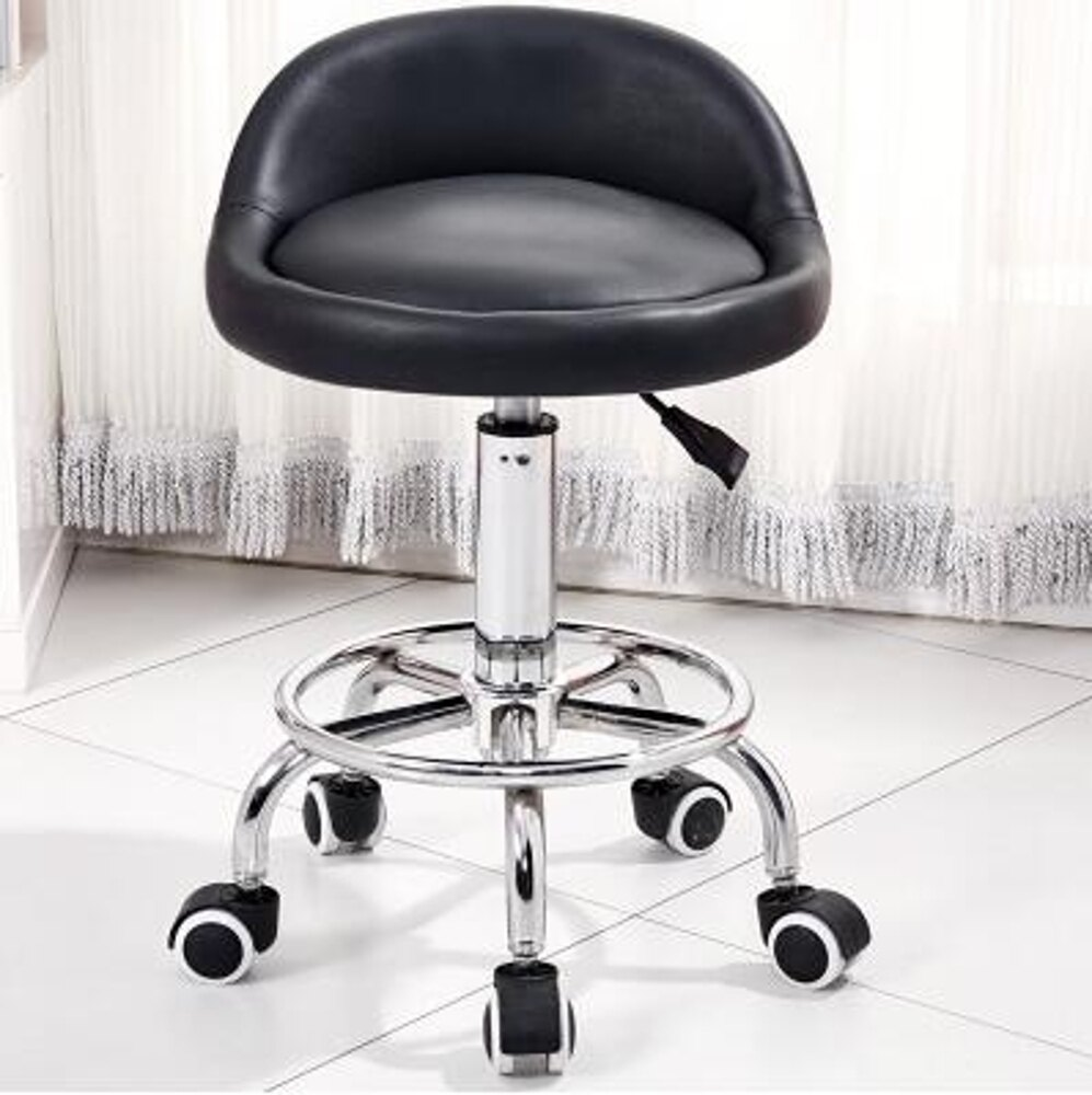 免運 滑輪美容凳旋轉升降靠背轉椅化妝美甲凳家用理髮店髮廊圓凳大工凳