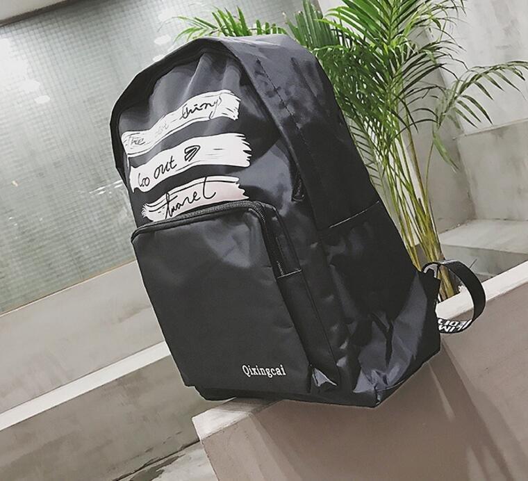 FINDSENSE品牌 日系 時尚潮流 男 字母印花塗漆 學生包 旅行背包 多用途背包 書包 後背包 肩背包