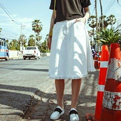 長裙牛仔半身裙子-流行大方個性流蘇女裙裝73hv14【獨家進口】【米蘭精品】