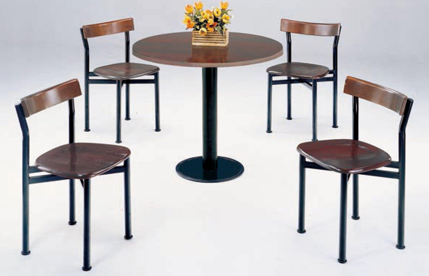 【 IS空間美學】2.5尺圓鐵刀木餐桌+貝勒餐椅(1桌4椅)