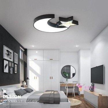 吸頂燈 LED吸頂燈兒童鐵藝個性星月燈現代簡約溫馨臥室房間燈具餐廳燈飾T 2色  聖誕節禮物