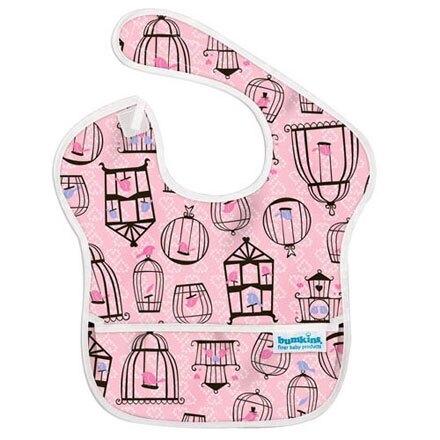 美國Bumkins 兒童防水圍兜-粉紅小鳥 BKS-200【悅兒園婦幼生活館】