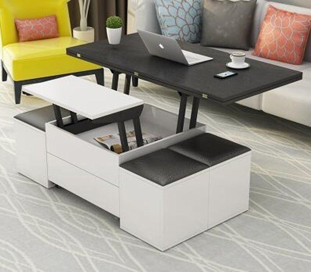茶幾 小戶型升降折疊茶幾現代簡約創意儲物伸縮多功能茶幾變餐桌兩用 MKS夢藝家