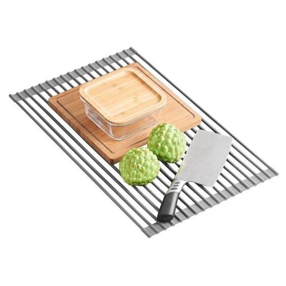 廚房捲簾水槽瀝水架可折疊置物架碗碟果蔬收納架隔熱墊鍋架 凱斯盾數位3C