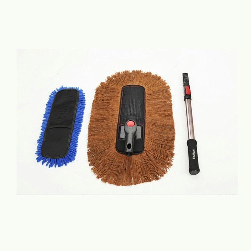 純棉軟毛擦車拖把可伸縮高檔汽車蠟刷轎車用除塵撣子掃灰洗車工具  尾牙年會禮物