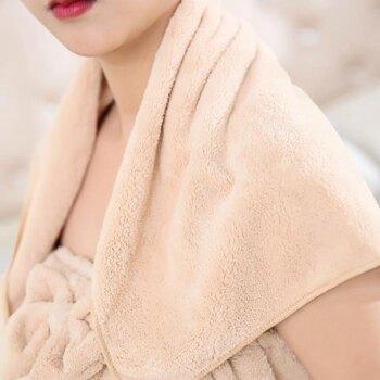 珊瑚絨浴巾毛巾浴裙發帶組合套裝成人女居家可穿柔軟吸水抹胸浴裙  聖誕節禮物