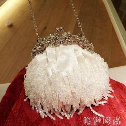 宴會包 名媛復古流蘇綢緞手工串珠珠繡包新娘包手提包女包旗袍包宴會包包   唯伊時尚