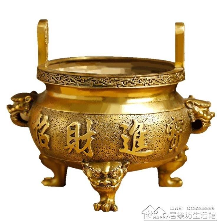燒香爐純銅家用室內供佛供奉線香插香座檀香財神爺香薰爐擺件銅鼎
