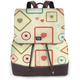 リュックバッグ リュック バック PU レザー リュックサック ファッション 幾何柄 レディースリュック 手提げバッグ 背面ポケット付き プレゼント バック通勤 通学 旅行 外出する 収納力抜群