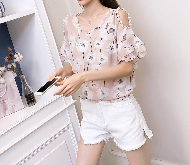 FINDSENSE H1 2018 夏季 新款 韓國 清新 甜美 碎花 雪紡衫 仙氣 寬鬆短袖 女 潮上衣