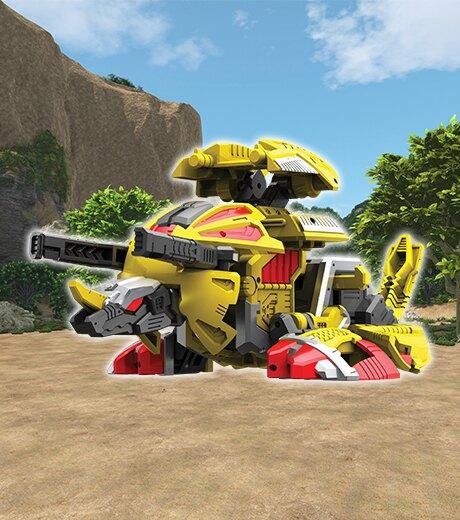 【Fun心玩】CK32368 麗嬰 韓國 CARBOT 衝鋒戰士 電擊三角龍 變形蛋 模型 益智 兒童 玩具