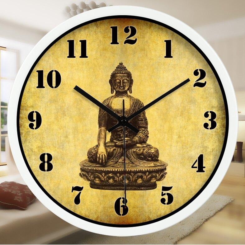 宗教復古泰國佛像鐘錶客廳會所裝飾靜音古董藝術信仰掛鐘065 秋冬新品特惠