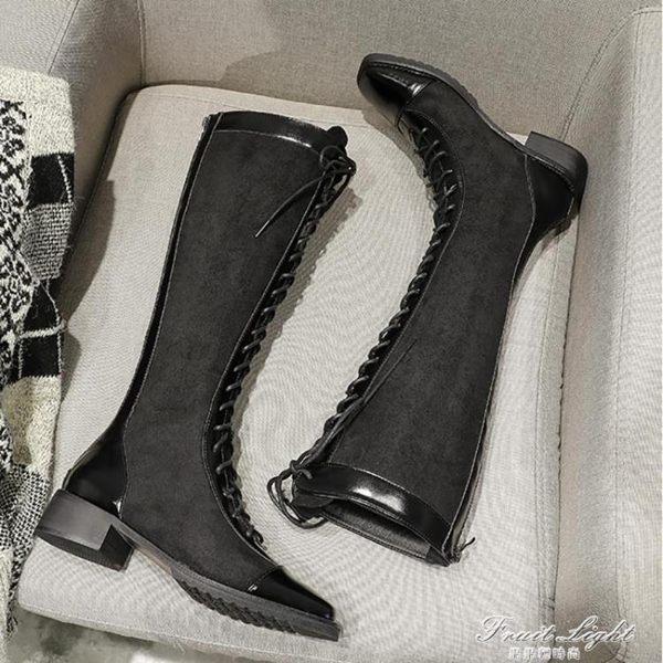 膝上靴 靴子女秋款女靴高筒靴綁帶長靴女不過膝靴網紅瘦瘦靴長筒靴女