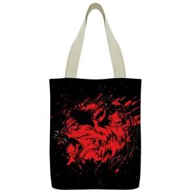 キャンバス トートバッグ 買い物バッグ エコバッグ トートバッグ キャンバスバッグ オオカミ 血 狼 グラフィックトート 手提げバッグ ベジバッグ ショルダーバッグ 大容量