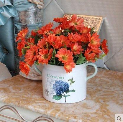 知根假花仿真花波斯菊絹花裝飾花春菊歐式花餐桌花客廳花藝3個組(圖一)