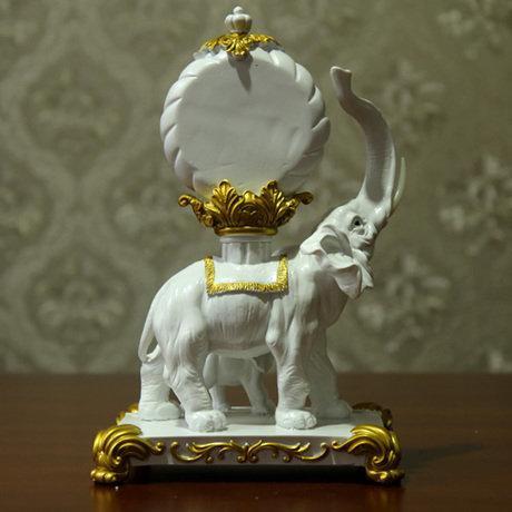 招財大象擺件創意座鐘台鐘白鐘表客廳玄關家居裝飾品實用奢華