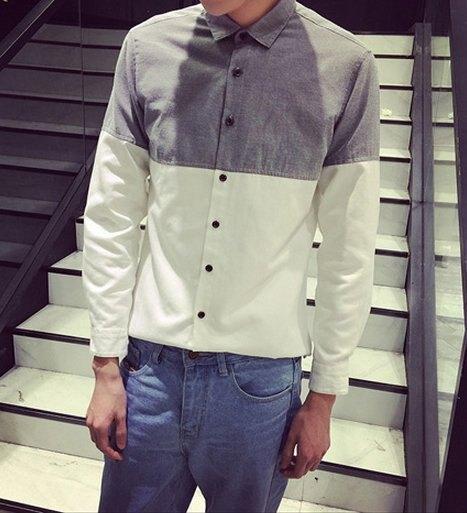 【JP.美日韓】簡約 拚色襯衫 質感佳 襯衫 拼接 潮流襯衫 灰色 黑白拚 特惠650