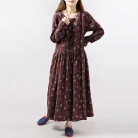【 M ~ 2XL 】 大きいサイズ レディース 秋 冬 花柄 コットン ロング ワンピース ドレス 2L 70668
