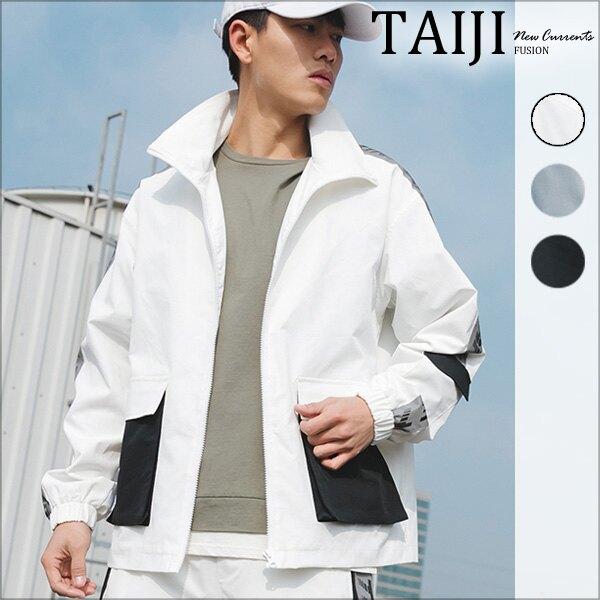 大尺碼工裝外套‧袖臂字母線條拼接背面印花立體大口袋工裝外套‧三色‧加大尺碼【NTJBA896S】-TAIJI