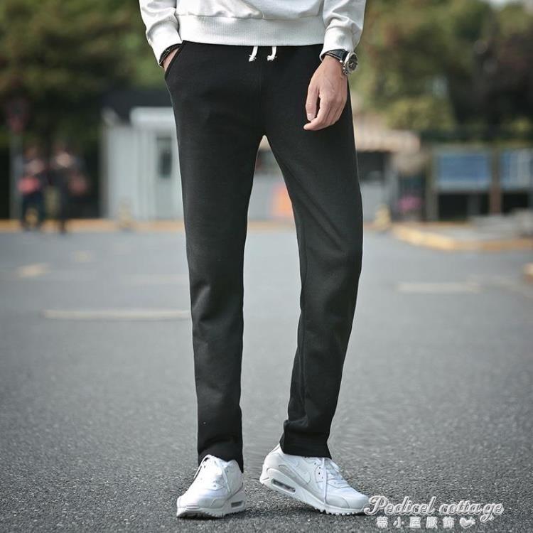 秋冬季加厚寬鬆男士運動褲直筒衛褲針織大碼休閒長褲子