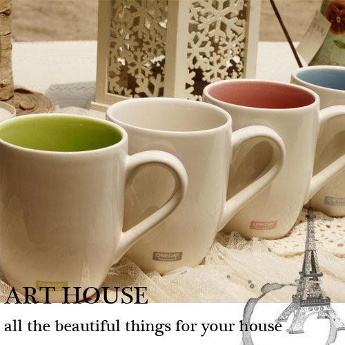 彩色淡雅陶瓷水杯 杯子 口杯 馬克杯 奶杯 咖啡杯 茶杯 餐飲用具(一個價)(圖一)