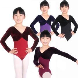 童3179黑色絨拼黑色萊卡長袖S兒童舞蹈服裝女童舞蹈裙絲絨拼色練功服演出服表演服體操服考級服