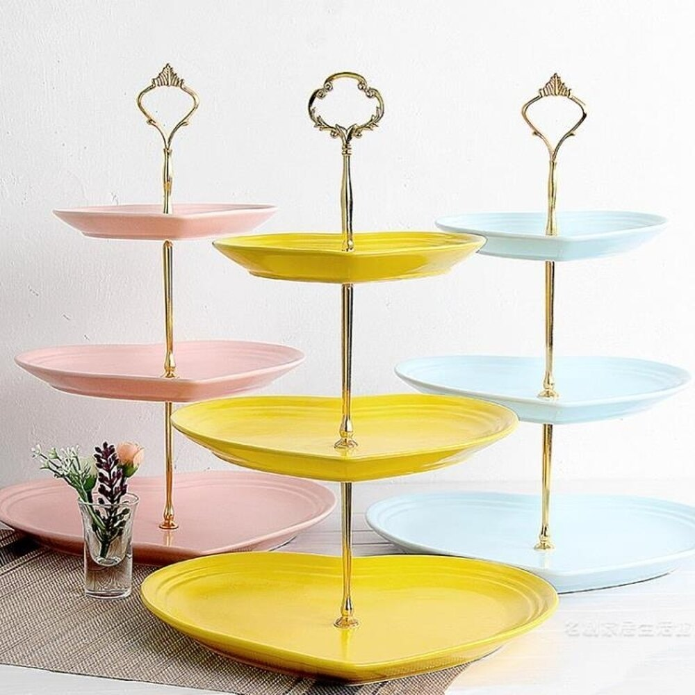 蛋糕水果架瓷江湖陶瓷三層水果盤歐式客廳下午蛋糕架零食茶點心甜品糖果托盤 阿薩布魯