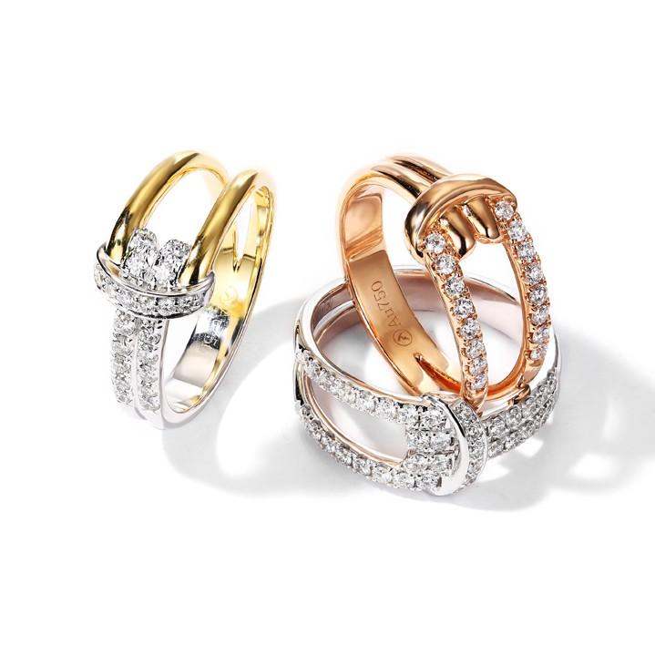 【巧品珠寶】18K 情人結(繩結) 設計 鑽石戒指