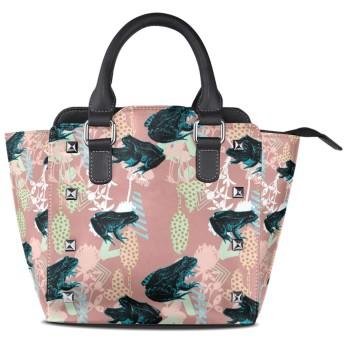 アートペイントカエル女性の女の子のためのハンドバッグ女性クロスボディバッグ革サッチェル財布メイクトートバッグ
