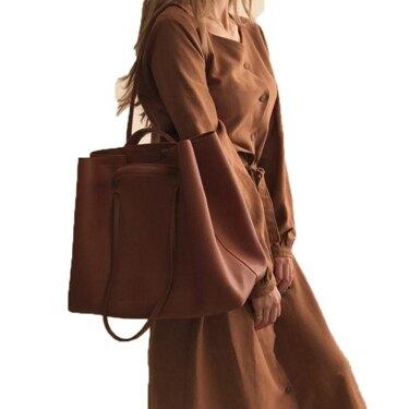 ins復古大容量手提子母包包單肩軟皮大包潮女托特女包 全館八八折