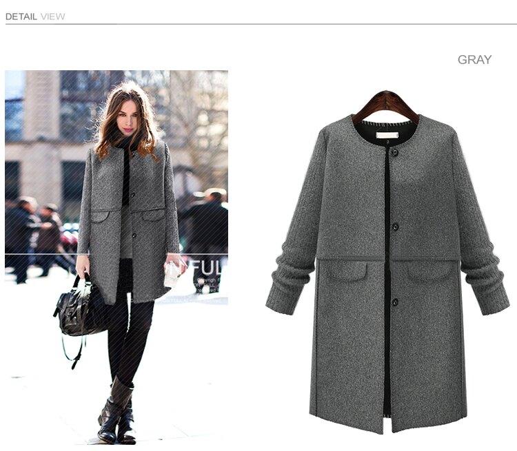 (春暖花開)歐美時尚風格毛呢顯瘦大衣預購七天