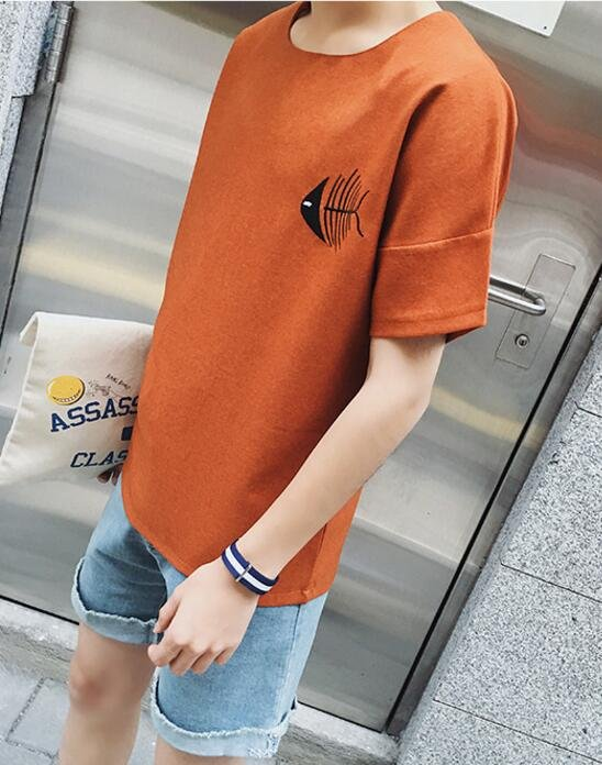 FINDSENSE品牌 男 時尚 街頭 潮 情侶款 貓魚圖案印花 寬鬆 短袖T恤 特色短T