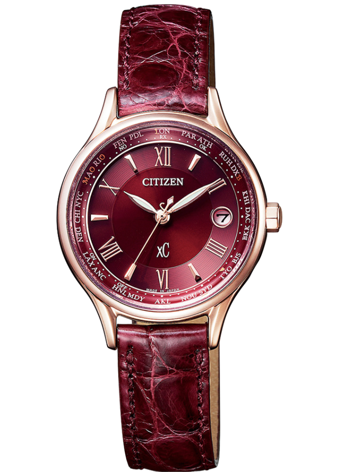 CITIZEN星辰 XC系列 Eco-Drive 耶誕限量光動能電波腕錶 EC1164-02W 酒紅/28mm
