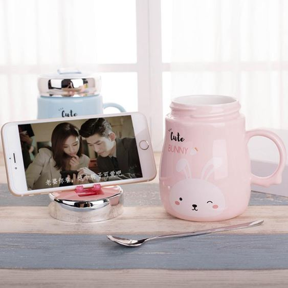 創意潮流韓版女學生馬克杯帶蓋勺可愛陶瓷杯辦公室家用水杯子