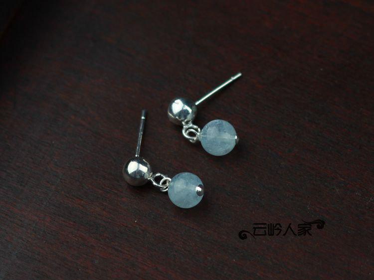 手工飾品 女 銀飾 海藍寶耳環 銀耳釘 極美
