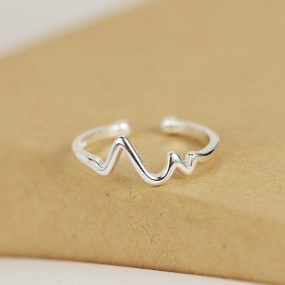簡約設計戒指 925純銀心動開口創意心跳心電圖氣質淑女情人節禮物      全館八五折