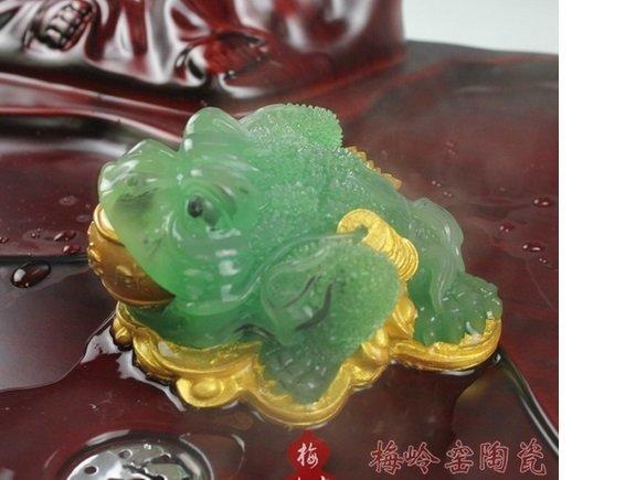 梅嶺窯 金色 功夫茶具零配件 變色茶寵 樹脂三腳蟾蜍