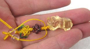 黃水晶老虎手機鏈帶石榴石的黃水晶手機鏈