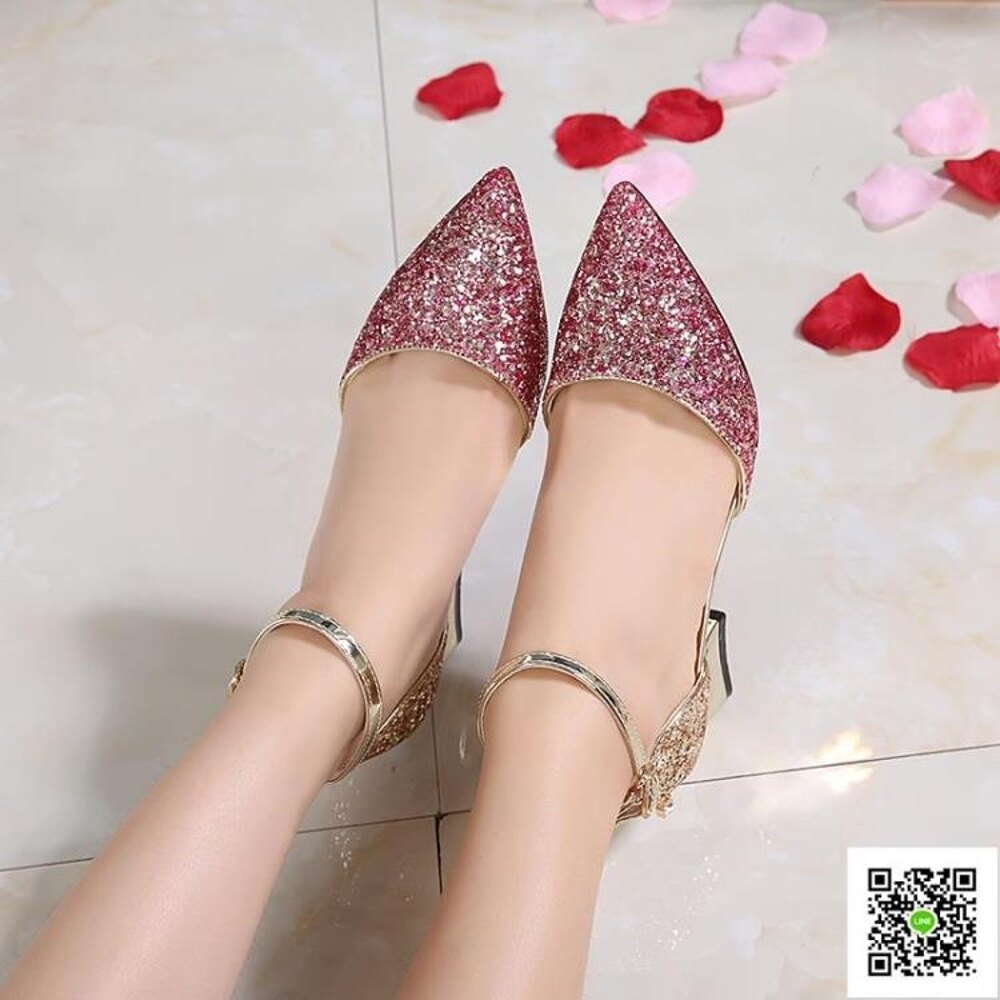 春新款百搭漸變金銀色亮片粗跟水晶鞋中空單鞋女伴娘鞋婚鞋新娘鞋 清涼一夏钜惠