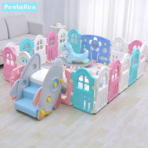 兒童門欄寶寶學步爬行墊圍欄兒童室內游戲嬰兒防摔防護欄家用安全柵欄加高XW