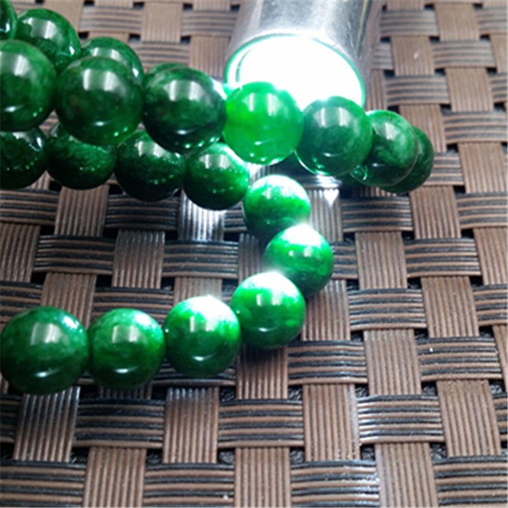 滿綠色幹青玉石翠色圓珠項錬女款飾品生日禮物送媽媽送愛人  【歡慶新年】