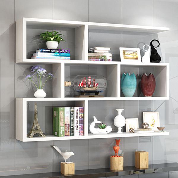 墻上置物架壁掛墻面吊櫃客廳掛櫃臥室墻壁櫃書架書櫃創意格子酒架 MKS